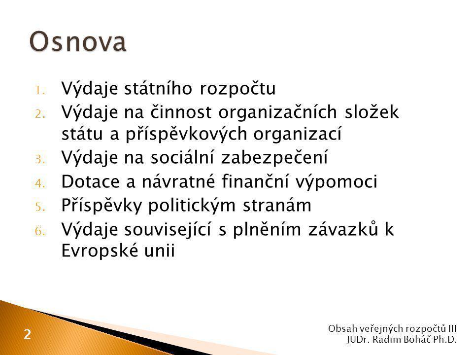 7.Výdaje rozpočtů obcí a krajů 8. Závazky vyplývající z plnění povinností 9.