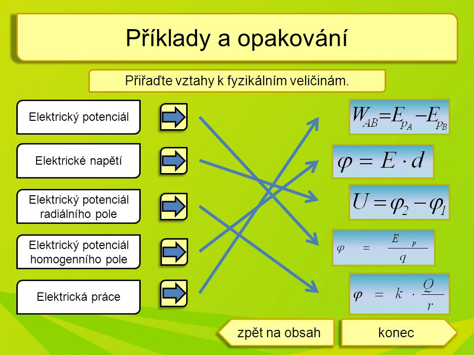 koneczpět na obsah Elektrický potenciál Elektrické napětí Elektrická práce Elektrický potenciál radiálního pole Elektrický potenciál homogenního pole