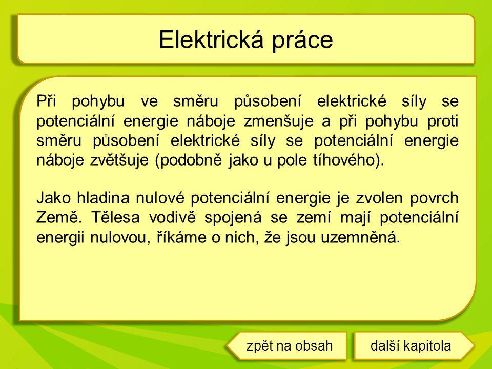 další kapitola Při pohybu ve směru působení elektrické síly se potenciální energie náboje zmenšuje a při pohybu proti směru působení elektrické síly s