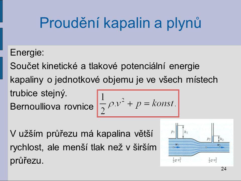 Proudění kapalin a plynů Energie: Součet kinetické a tlakové potenciální energie kapaliny o jednotkové objemu je ve všech místech trubice stejný. Bern