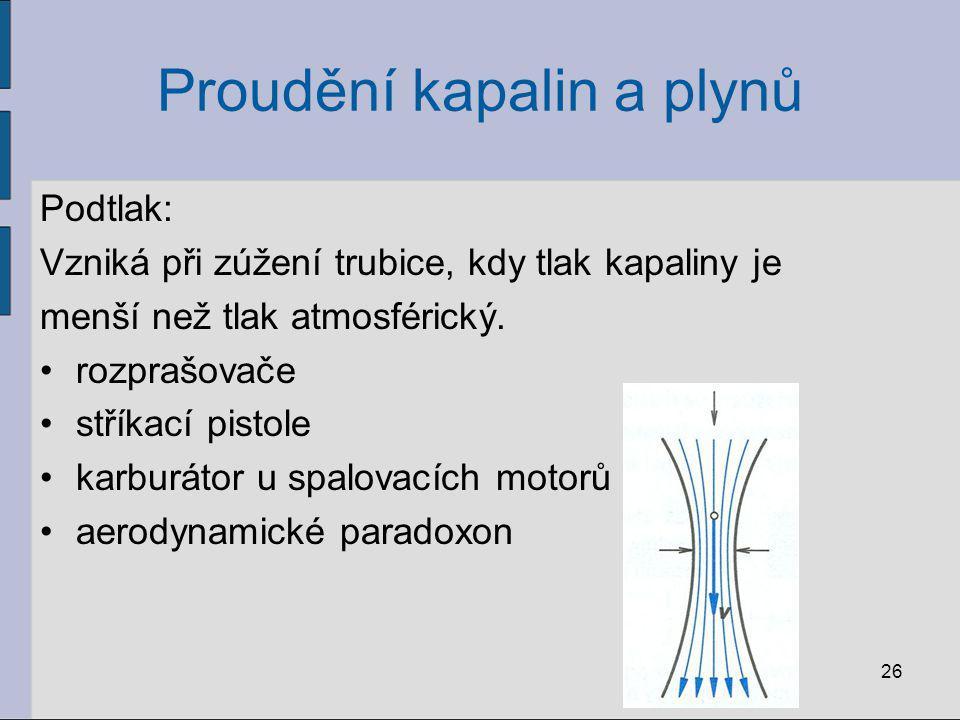 Proudění kapalin a plynů Podtlak: Vzniká při zúžení trubice, kdy tlak kapaliny je menší než tlak atmosférický. rozprašovače stříkací pistole karburáto