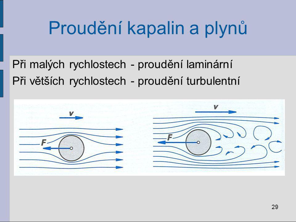 Proudění kapalin a plynů Při malých rychlostech - proudění laminární Při větších rychlostech - proudění turbulentní 29