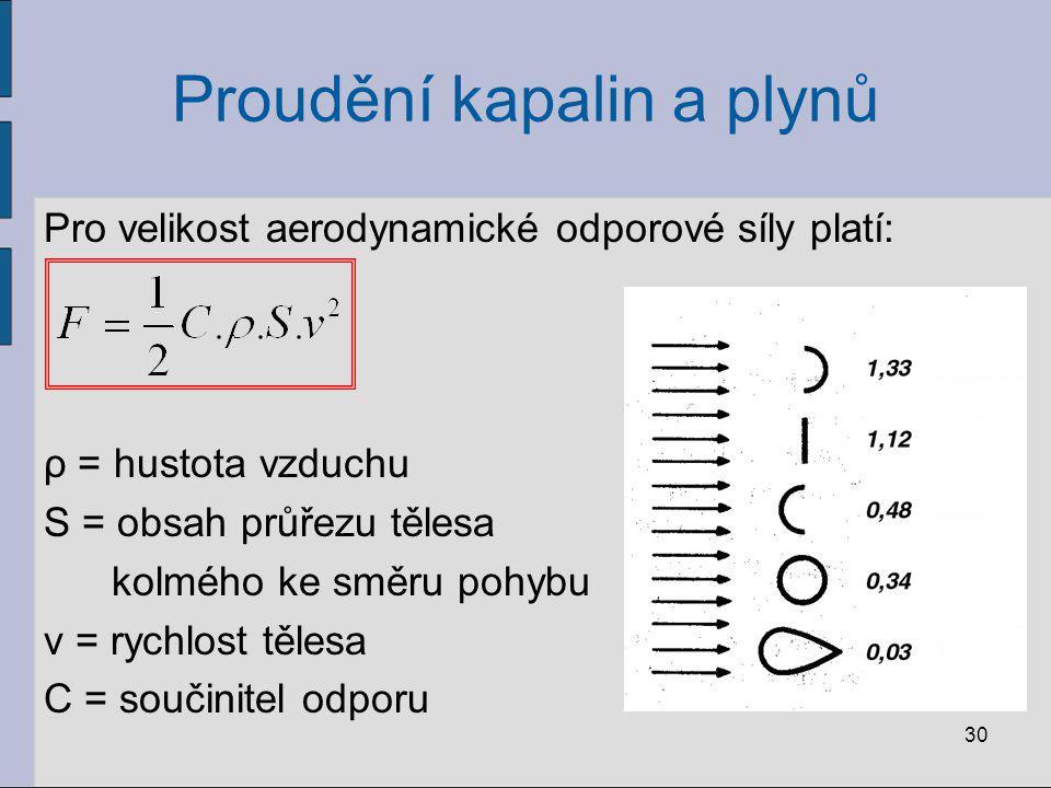Proudění kapalin a plynů Pro velikost aerodynamické odporové síly platí: ρ = hustota vzduchu S = obsah průřezu tělesa kolmého ke směru pohybu v = rych