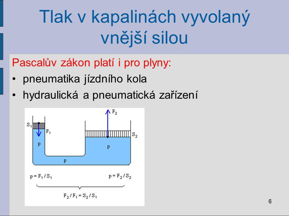 Tlak v kapalinách vyvolaný vnější silou Pascalův zákon platí i pro plyny: pneumatika jízdního kola hydraulická a pneumatická zařízení 6