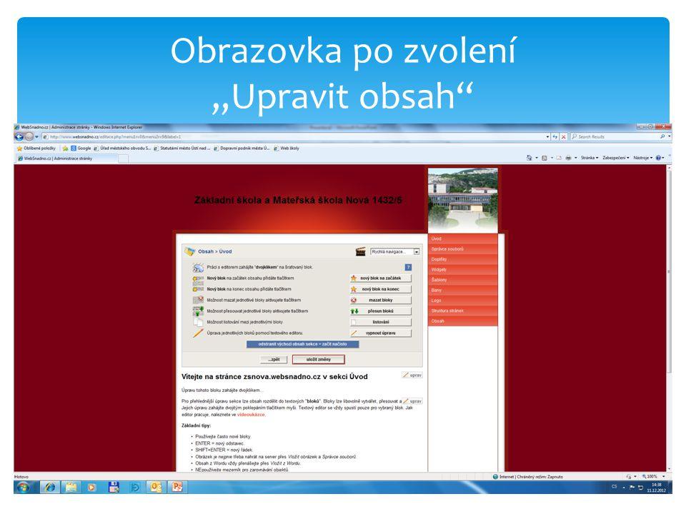 """Obrazovka po zvolení """"Upravit obsah"""