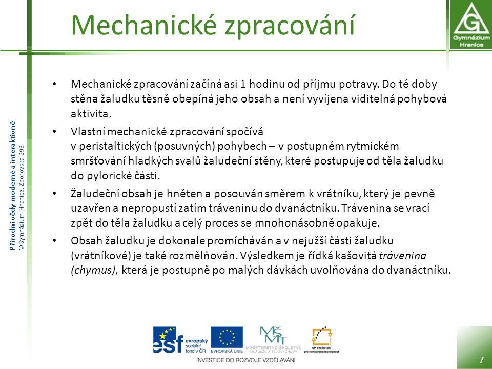 Přírodní vědy moderně a interaktivně ©Gymnázium Hranice, Zborovská 293 Mechanické zpracování Mechanické zpracování začíná asi 1 hodinu od příjmu potra