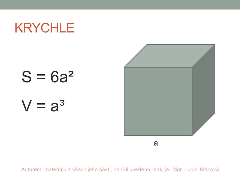KRYCHLE a S = 6a² V = a³ Autorem materiálu a všech jeho částí, není-li uvedeno jinak, je Mgr.
