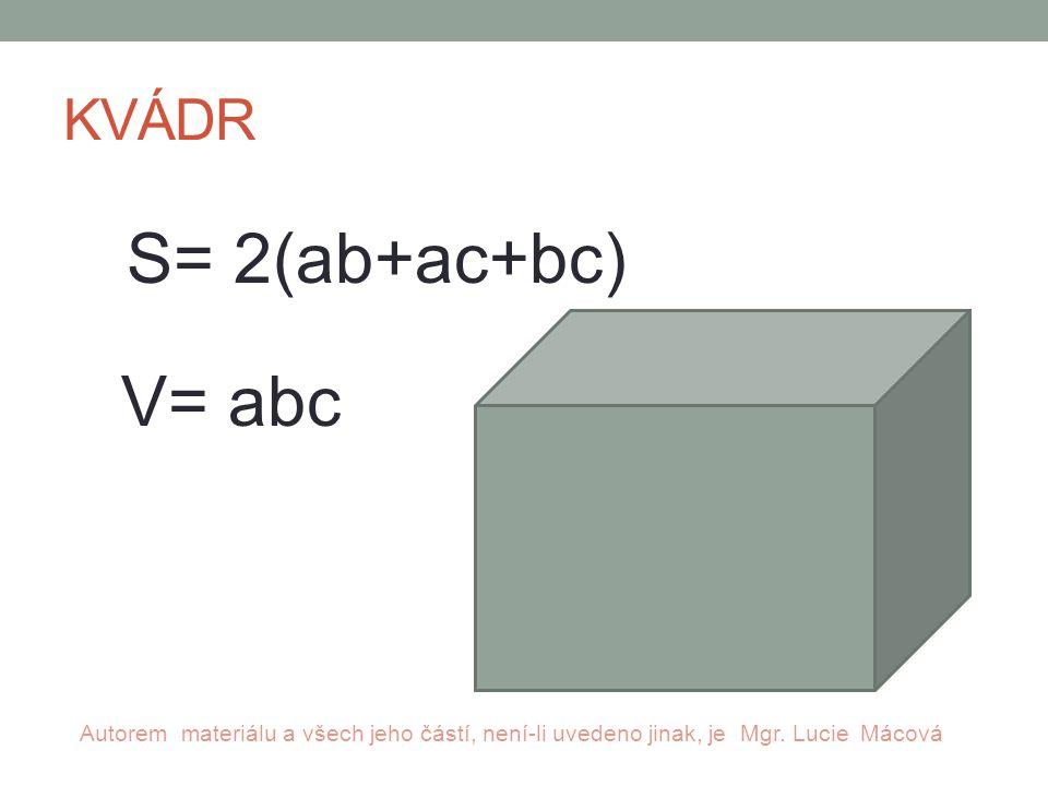 KVÁDR S= 2(ab+ac+bc) V= abc Autorem materiálu a všech jeho částí, není-li uvedeno jinak, je Mgr.