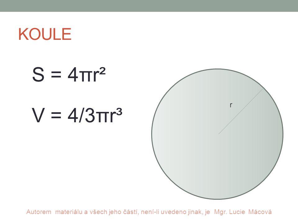KOULE S = 4πr² V = 4/3πr³ r Autorem materiálu a všech jeho částí, není-li uvedeno jinak, je Mgr.