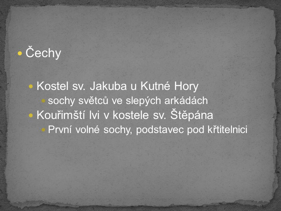Čechy Kostel sv.Jakuba u Kutné Hory sochy světců ve slepých arkádách Kouřimští lvi v kostele sv.