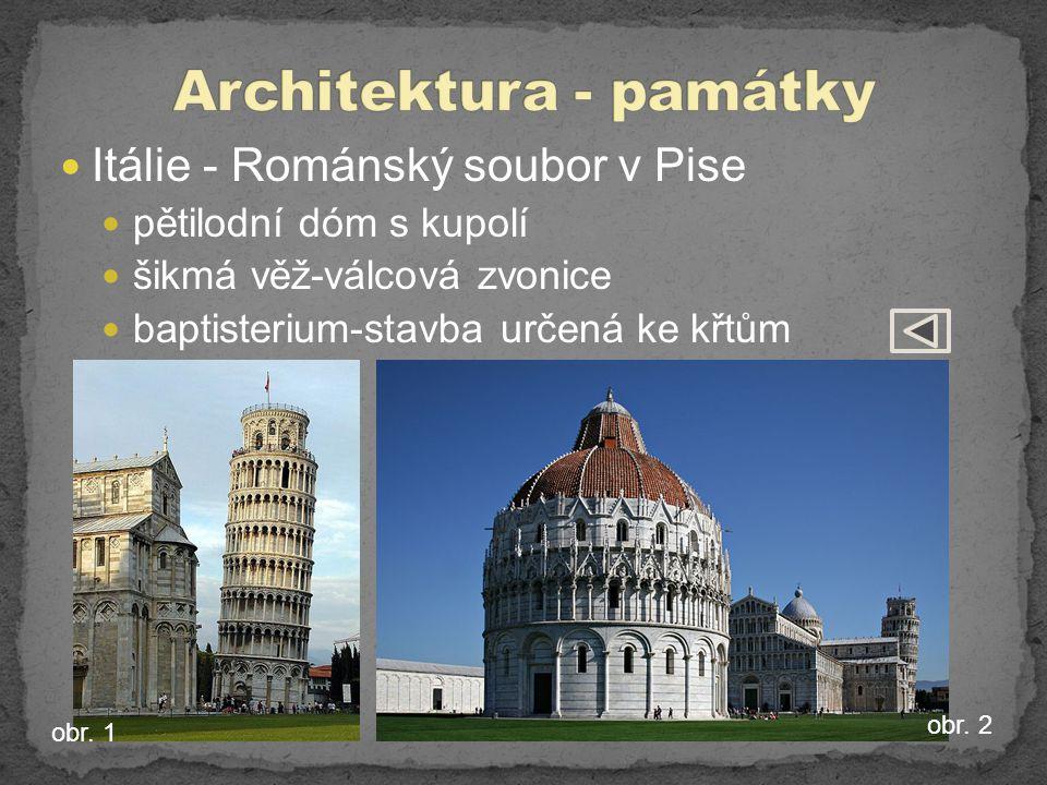 Itálie - Románský soubor v Pise pětilodní dóm s kupolí šikmá věž-válcová zvonice baptisterium-stavba určená ke křtům obr.