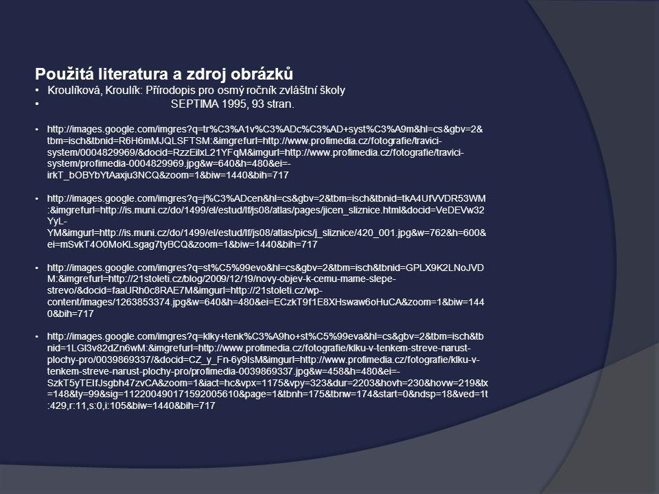 Použitá literatura a zdroj obrázků Kroulíková, Kroulík: Přírodopis pro osmý ročník zvláštní školy SEPTIMA 1995, 93 stran. http://images.google.com/img