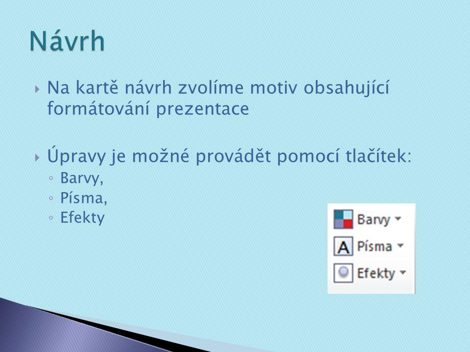  Na kartě návrh zvolíme motiv obsahující formátování prezentace  Úpravy je možné provádět pomocí tlačítek: ◦ Barvy, ◦ Písma, ◦ Efekty