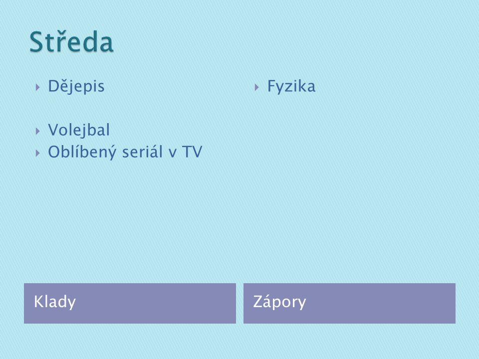 KladyZápory  Dějepis  Volejbal  Oblíbený seriál v TV  Fyzika