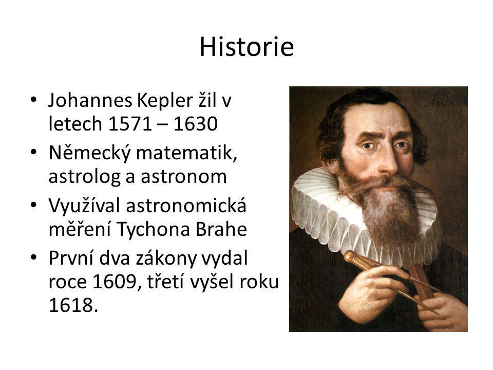 Historie Johannes Kepler žil v letech 1571 – 1630 Německý matematik, astrolog a astronom Využíval astronomická měření Tychona Brahe První dva zákony v