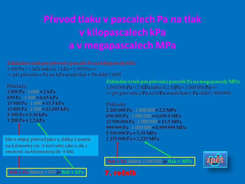Převod tlaku v pascalech Pa na tlak v kilopascalech kPa a v megapascalech MPa tlak v Pa dělený 1 000 je tlak v kPa Základní vztah pro převod z pascalů