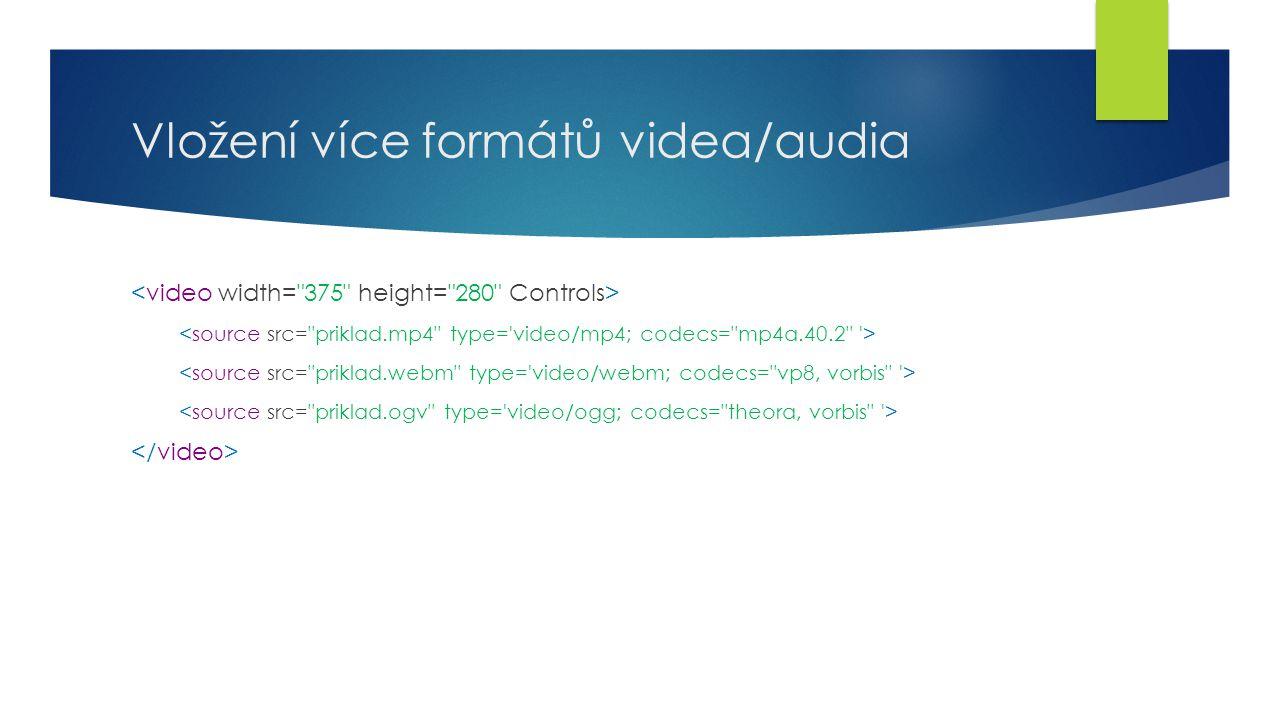 Vložení více formátů videa/audia