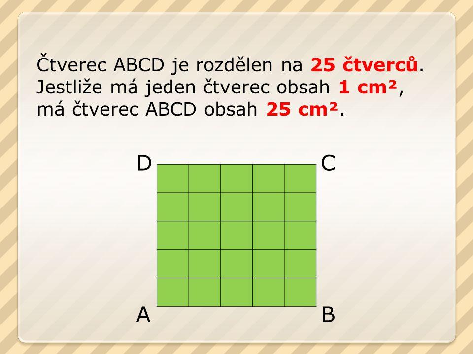 Čtverec ABCD je rozdělen na 25 čtverců.