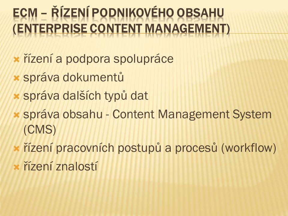  řízení a podpora spolupráce  správa dokumentů  správa dalších typů dat  správa obsahu - Content Management System (CMS)  řízení pracovních postupů a procesů (workflow)  řízení znalostí