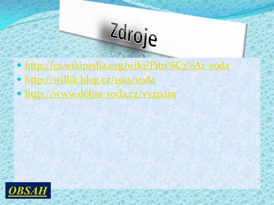http://cs.wikipedia.org/wiki/Pitn%C3%A1_voda http://willik.blog.cz/1012/voda http://www.dobra-voda.cz/vyznam OBSAH