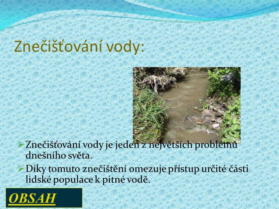 Znečišťování vody:  Znečišťování vody je jeden z největších problémů dnešního světa.  Díky tomuto znečištění omezuje přístup určité části lidské pop