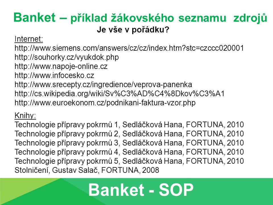 Banket – příklad žákovského seznamu zdrojů Je vše v pořádku? Internet: http://www.siemens.com/answers/cz/cz/index.htm?stc=czccc020001 http://souhorky.