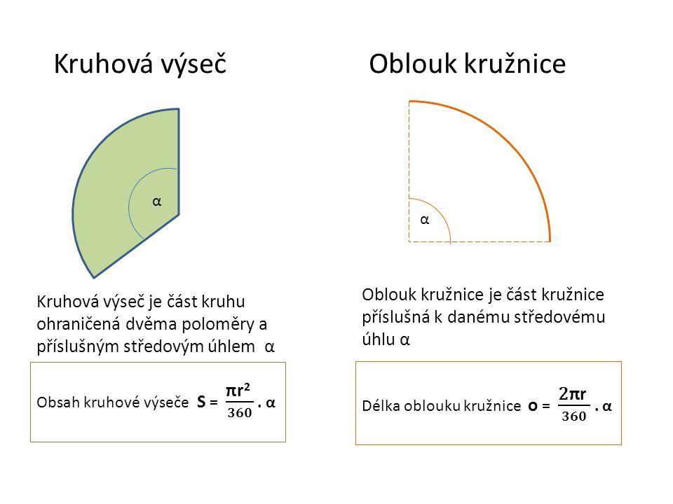 Kruhová výseč Oblouk kružnice α α Kruhová výseč je část kruhu ohraničená dvěma poloměry a příslušným středovým úhlem α Oblouk kružnice je část kružnic