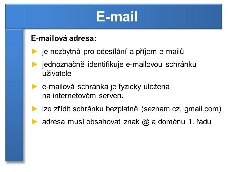 E-mailová adresa: ►je nezbytná pro odesílání a příjem e-mailů ►jednoznačně identifikuje e-mailovou schránku uživatele ►e-mailová schránka je fyzicky uložena na internetovém serveru ►lze zřídit schránku bezplatně (seznam.cz, gmail.com) ►adresa musí obsahovat znak @ a doménu 1.