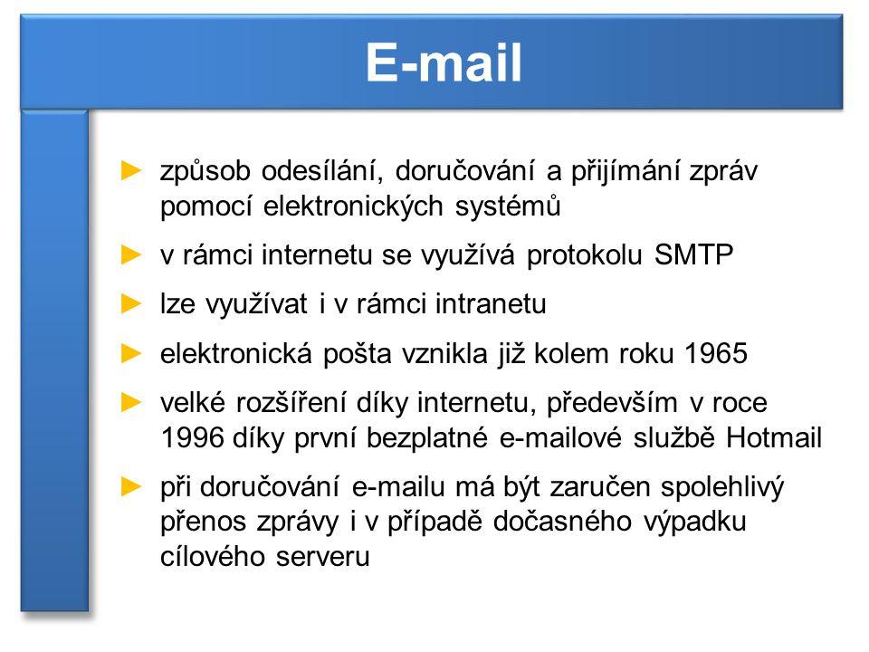 ►způsob odesílání, doručování a přijímání zpráv pomocí elektronických systémů ►v rámci internetu se využívá protokolu SMTP ►lze využívat i v rámci intranetu ►elektronická pošta vznikla již kolem roku 1965 ►velké rozšíření díky internetu, především v roce 1996 díky první bezplatné e-mailové službě Hotmail ►při doručování e-mailu má být zaručen spolehlivý přenos zprávy i v případě dočasného výpadku cílového serveru E-mail