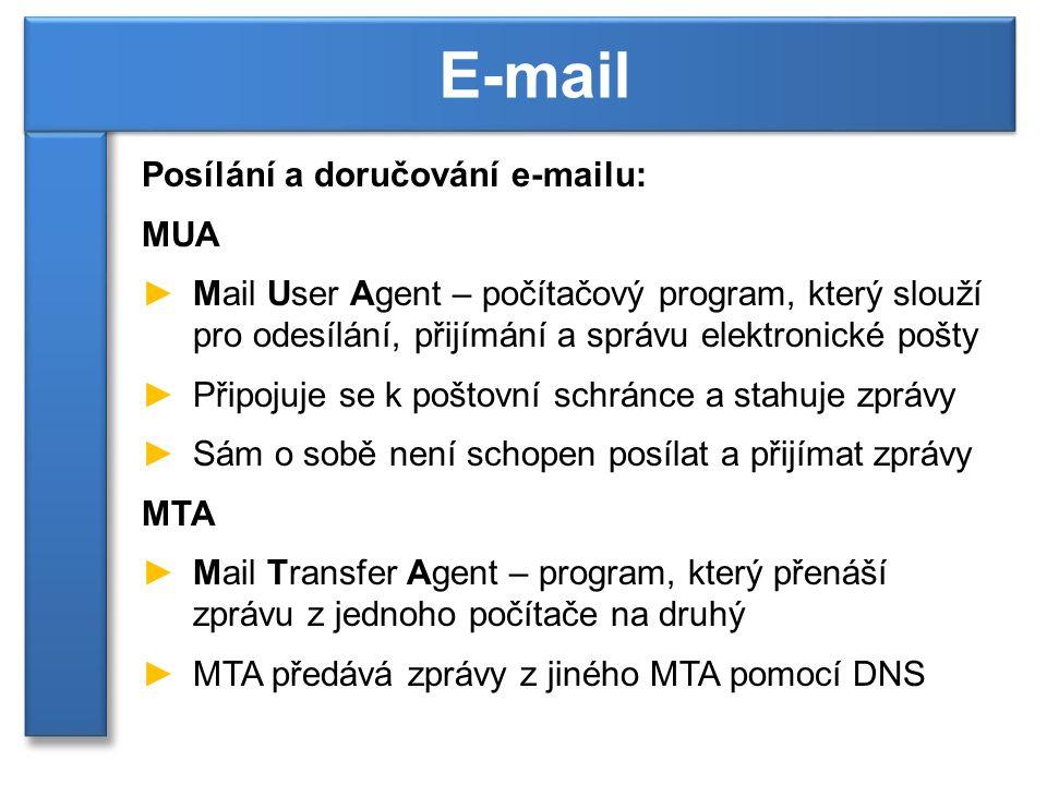 Posílání a doručování e-mailu: MUA ►Mail User Agent – počítačový program, který slouží pro odesílání, přijímání a správu elektronické pošty ►Připojuje se k poštovní schránce a stahuje zprávy ►Sám o sobě není schopen posílat a přijímat zprávy MTA ►Mail Transfer Agent – program, který přenáší zprávu z jednoho počítače na druhý ►MTA předává zprávy z jiného MTA pomocí DNS E-mail
