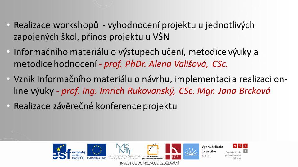Realizace workshopů - vyhodnocení projektu u jednotlivých zapojených škol, přínos projektu u VŠN Informačního materiálu o výstupech učení, metodice výuky a metodice hodnocení - prof.
