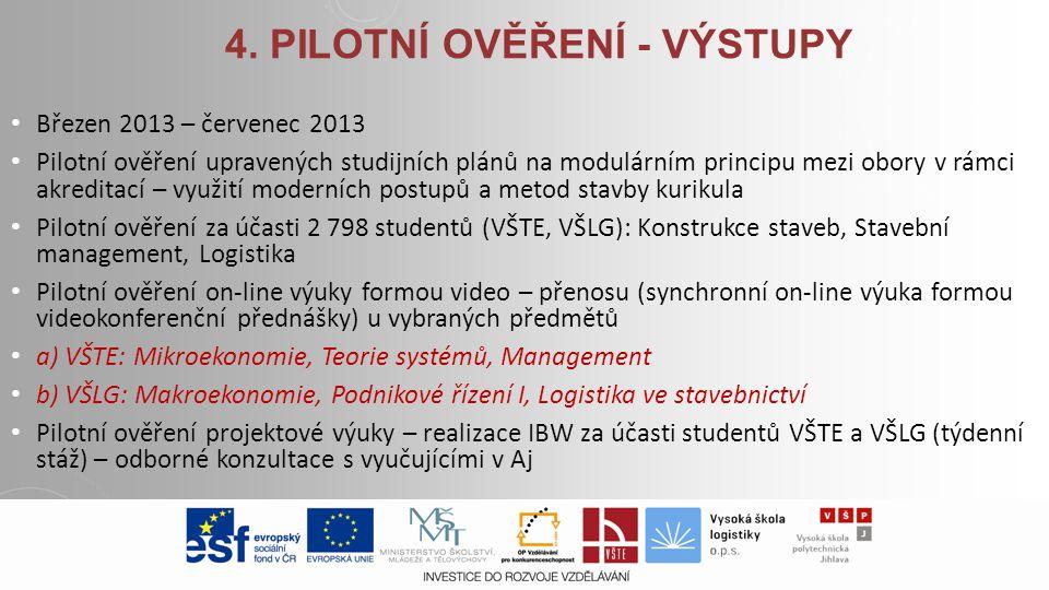 4. PILOTNÍ OVĚŘENÍ - VÝSTUPY Březen 2013 – červenec 2013 Pilotní ověření upravených studijních plánů na modulárním principu mezi obory v rámci akredit