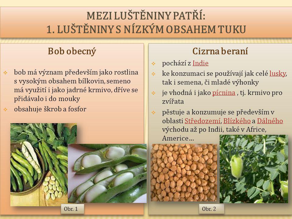 Bob obecný  bob má význam především jako rostlina s vysokým obsahem bílkovin, semeno má využití i jako jadrné krmivo, dříve se přidávalo i do mouky  obsahuje škrob a fosfor Bob obecný  bob má význam především jako rostlina s vysokým obsahem bílkovin, semeno má využití i jako jadrné krmivo, dříve se přidávalo i do mouky  obsahuje škrob a fosfor Cizrna beraní  pochází z IndieIndie  ke konzumaci se používají jak celé lusky, tak i semena, či mladé výhonkylusky  je vhodná i jako pícnina, tj.