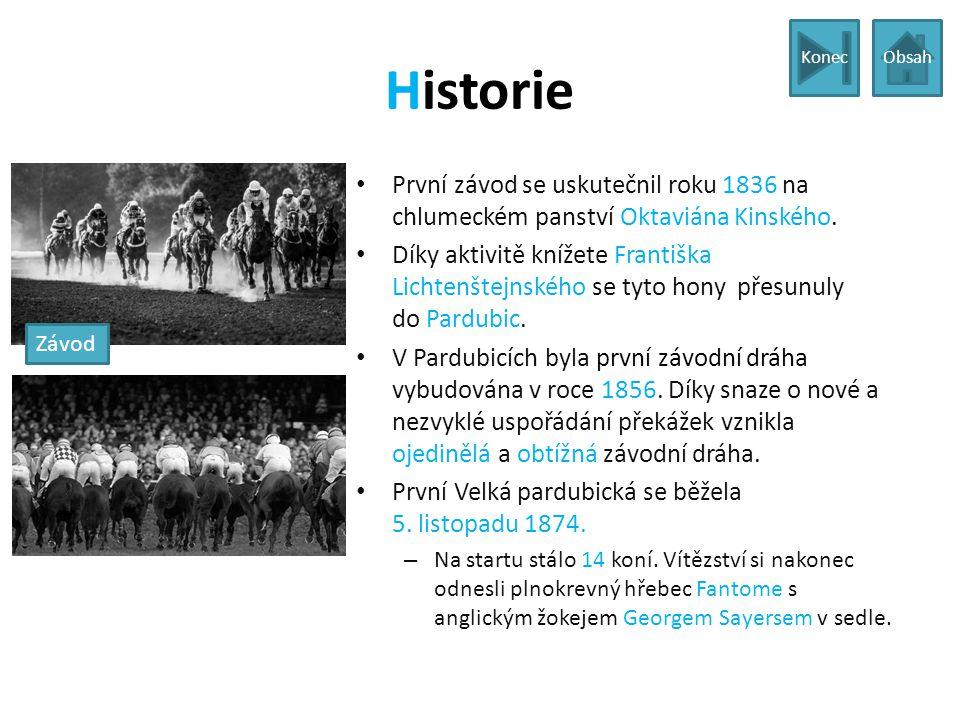 Historie První závod se uskutečnil roku 1836 na chlumeckém panství Oktaviána Kinského. Díky aktivitě knížete Františka Lichtenštejnského se tyto hony
