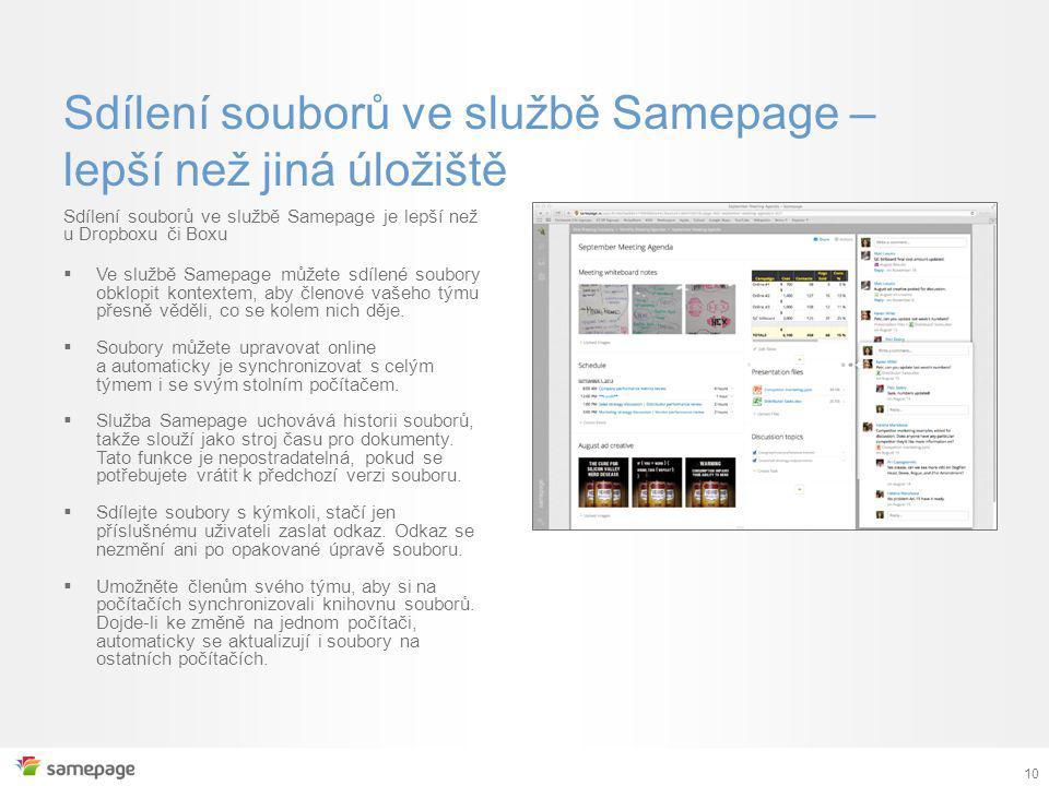 10 Sdílení souborů ve službě Samepage – lepší než jiná úložiště Sdílení souborů ve službě Samepage je lepší než u Dropboxu či Boxu  Ve službě Samepage můžete sdílené soubory obklopit kontextem, aby členové vašeho týmu přesně věděli, co se kolem nich děje.