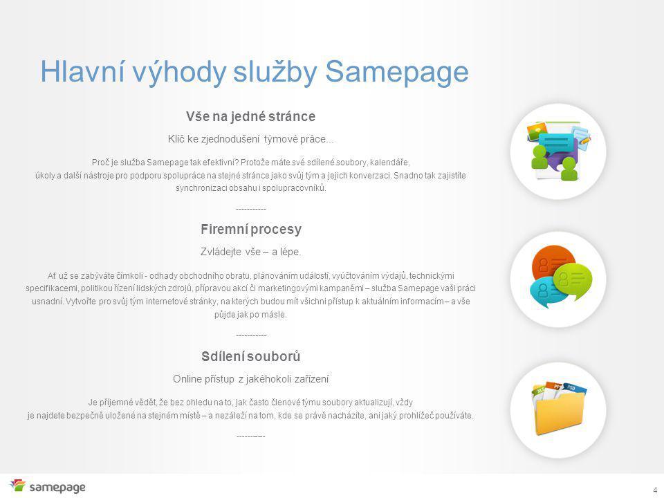 4 Vše na jedné stránce Klíč ke zjednodušení týmové práce...