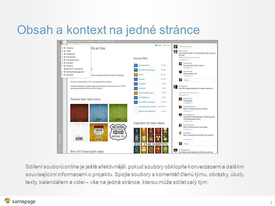 5 Obsah a kontext na jedné stránce Sdílení souborů online je ještě efektivnější, pokud soubory obklopíte konverzacemi a dalšími souvisejícími informacemi o projektu.
