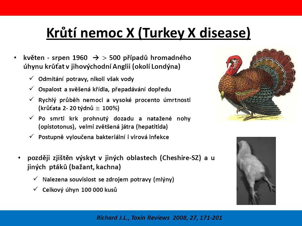 Krůtí nemoc X (Turkey X disease) Zdroj problému – brazilské arašídy Biotest – jednodenní káčata krmena jednotlivými složkami krmné směsi, nebo jejich výluhy – sledována proliferace buněk výstelky žlučníku Richard J.L., Toxin Reviews 2008, 27, 171-201 Později podobná nemoc v Keni - káčata Na arašídech z Ugandy pozorován výskyt plísně později identifikované jako Aspergillus flavus a Aspergillus parasiticus Biotest provedený s výluhem plísně a s mletými arašídy – stejný výsledek jako v případě Turkey-X Srovnání s dalšími onemocněními zvířat 1955 – 1957 - Pstruh duhový – sádky v Missury – hepatom (rakovina jater) – granulované krmivo Prasata, psi a morčata – plesnivá potrava