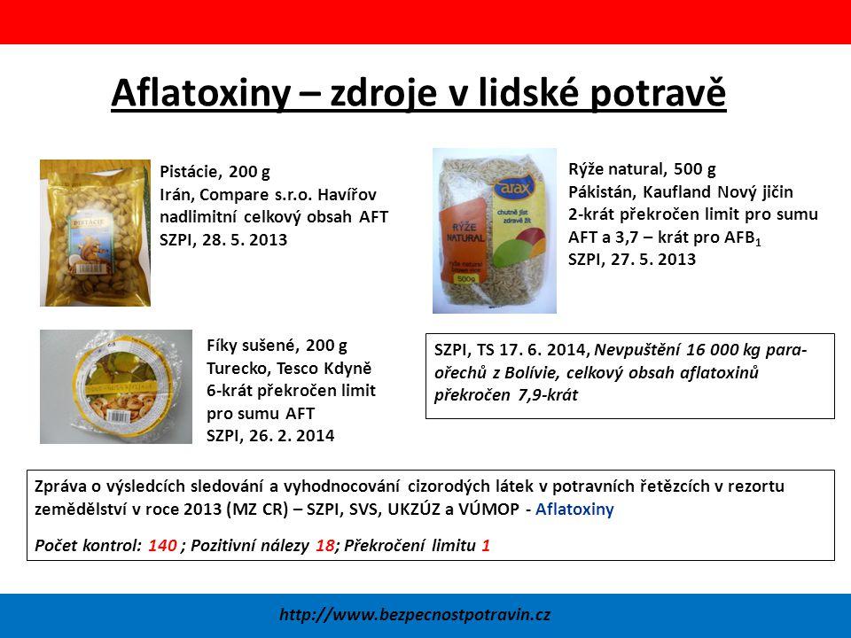 Aflatoxiny – zdroje v lidské potravě http://www.bezpecnostpotravin.cz Pistácie, 200 g Irán, Compare s.r.o.