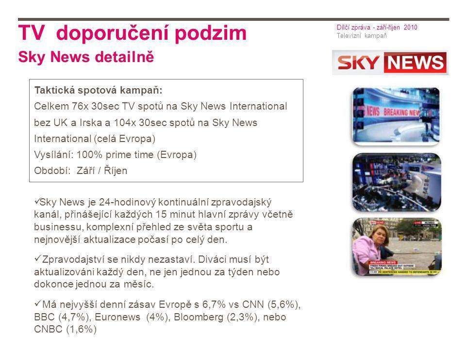 TV doporučení podzim Sky News detailně Taktická spotová kampaň: Celkem 76x 30sec TV spotů na Sky News International bez UK a Irska a 104x 30sec spotů na Sky News International (celá Evropa) Vysílání: 100% prime time (Evropa) Období: Září / Říjen Sky News je 24-hodinový kontinuální zpravodajský kanál, přinášející každých 15 minut hlavní zprávy včetně businessu, komplexní přehled ze světa sportu a nejnovější aktualizace počasí po celý den.