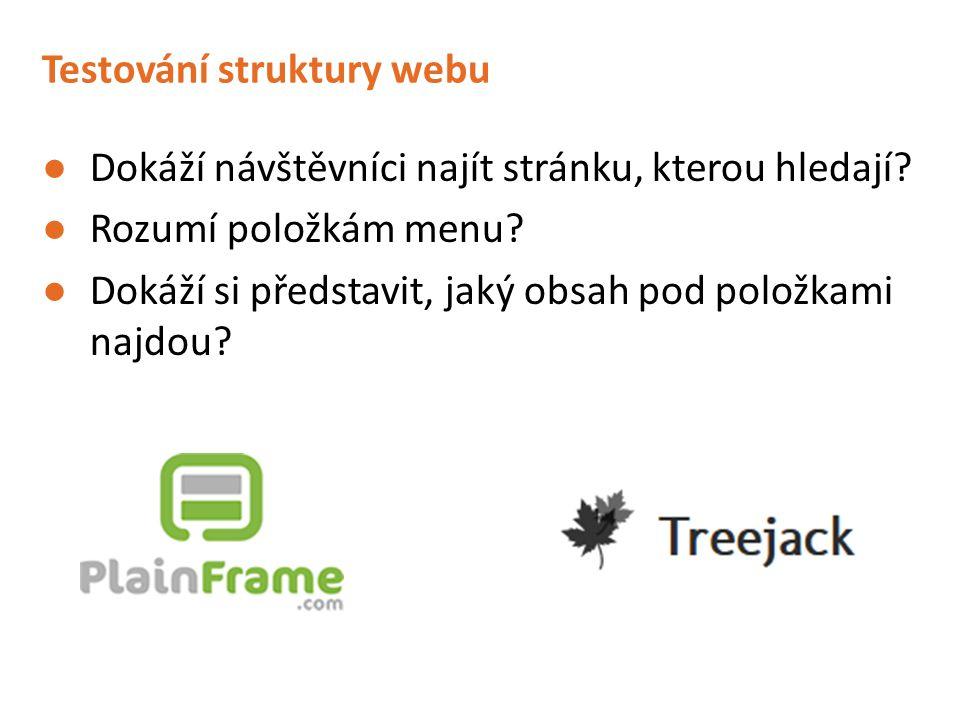 Testování struktury webu ●Dokáží návštěvníci najít stránku, kterou hledají? ●Rozumí položkám menu? ●Dokáží si představit, jaký obsah pod položkami naj