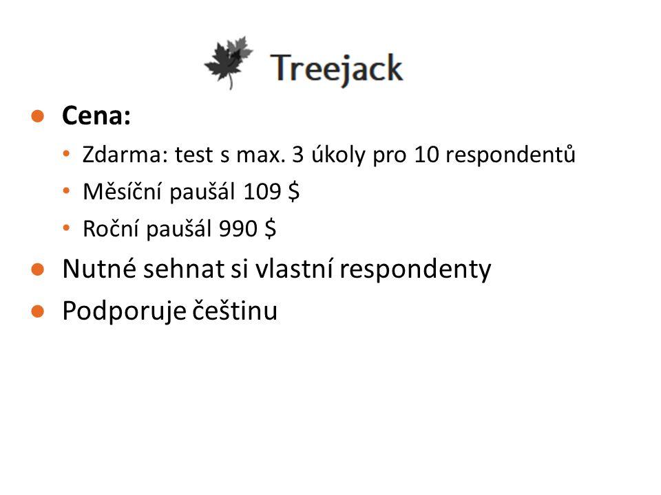 ●Cena: Zdarma: test s max. 3 úkoly pro 10 respondentů Měsíční paušál 109 $ Roční paušál 990 $ ●Nutné sehnat si vlastní respondenty ●Podporuje češtinu