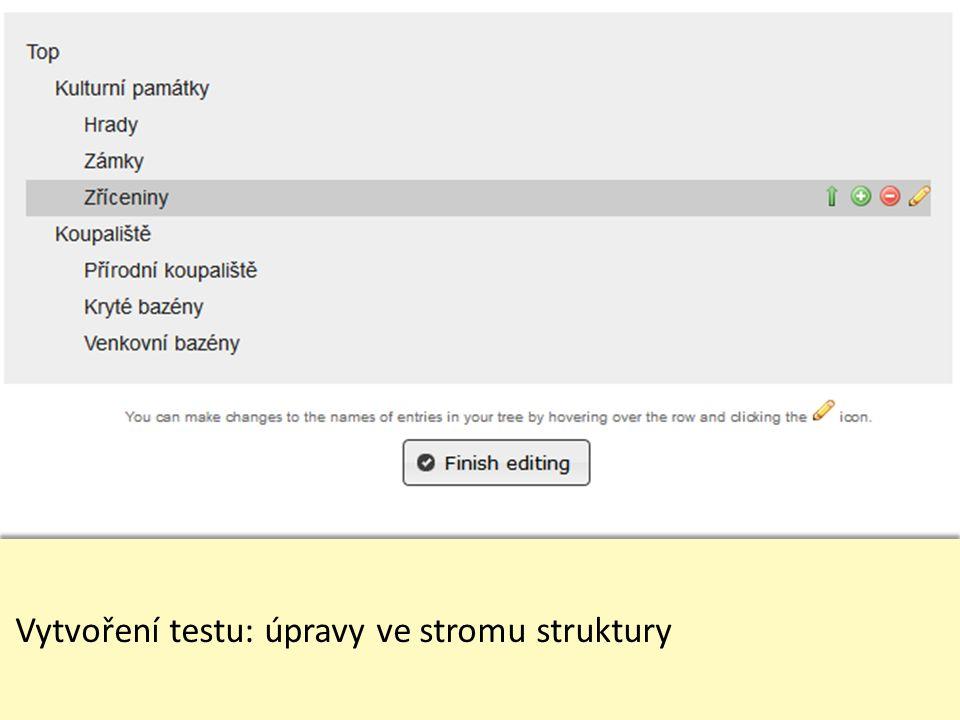 Vytvoření testu: zadání úkolů včetně správných odpovědí