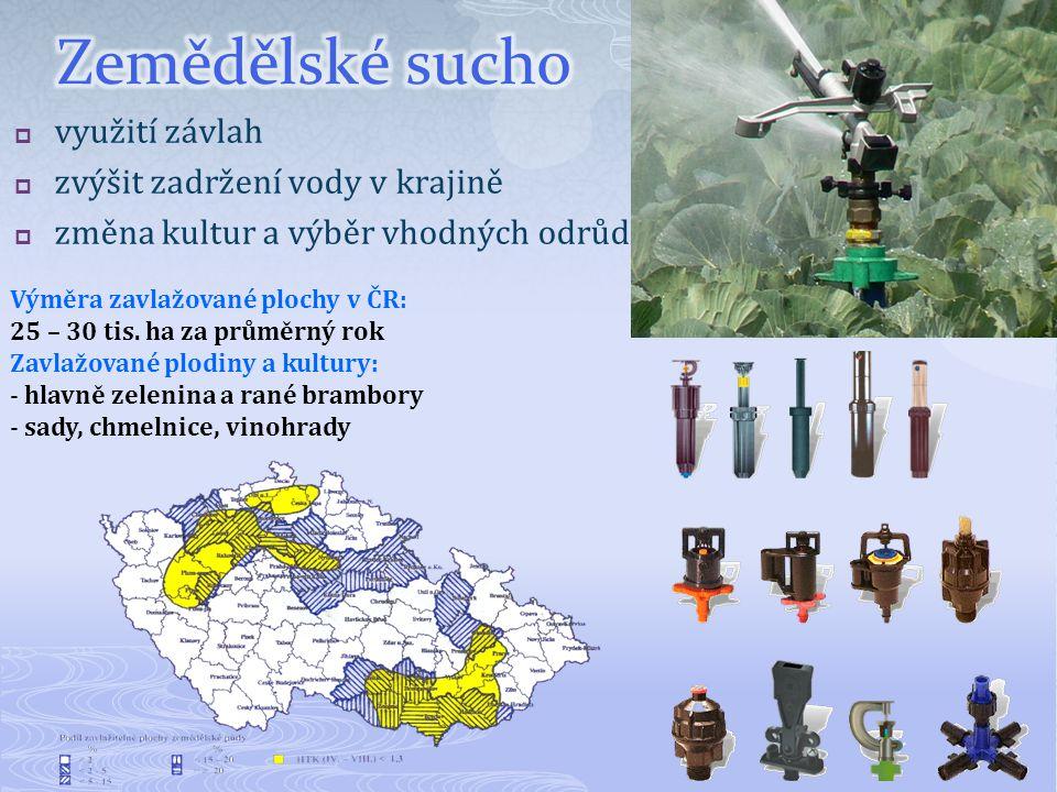  využití závlah  zvýšit zadržení vody v krajině  změna kultur a výběr vhodných odrůd Výměra zavlažované plochy v ČR: 25 – 30 tis. ha za průměrný ro
