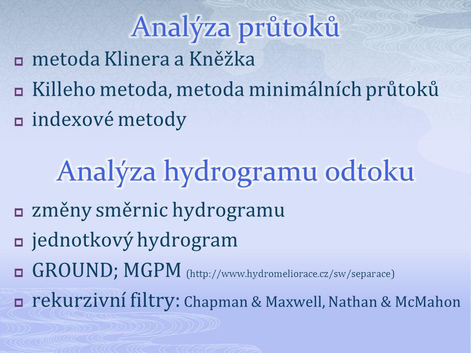  metoda Klinera a Kněžka  Killeho metoda, metoda minimálních průtoků  indexové metody  změny směrnic hydrogramu  jednotkový hydrogram  GROUND; M