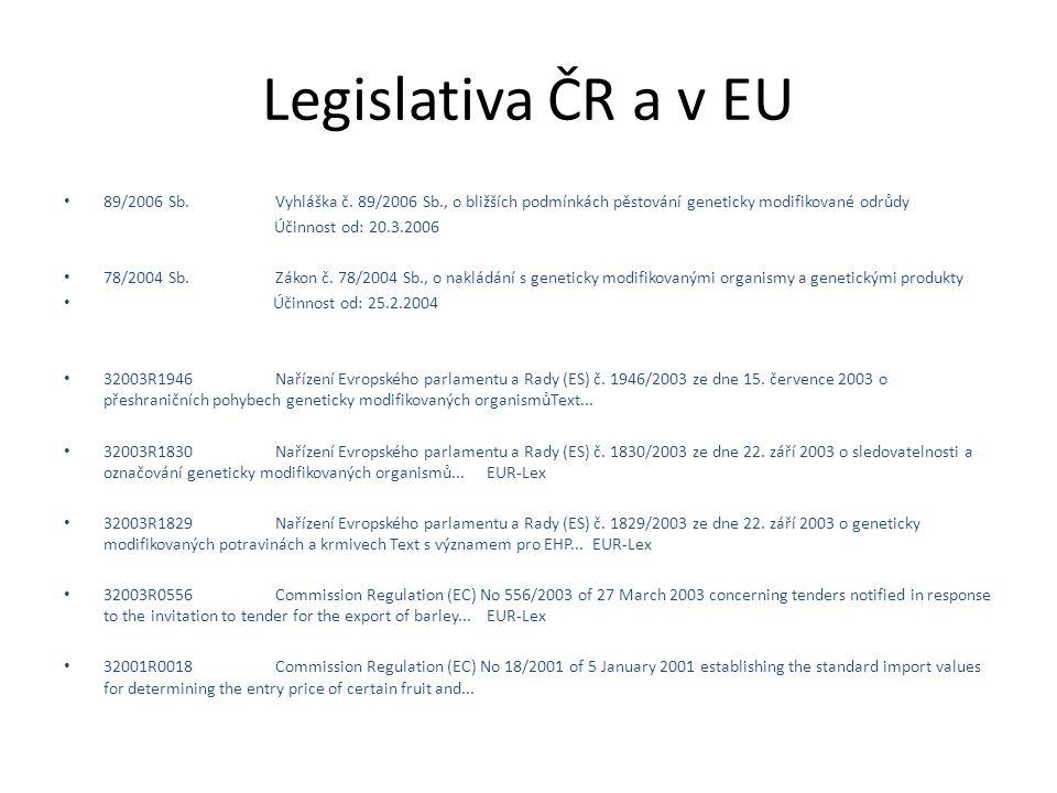 Legislativa ČR a v EU 89/2006 Sb.Vyhláška č.