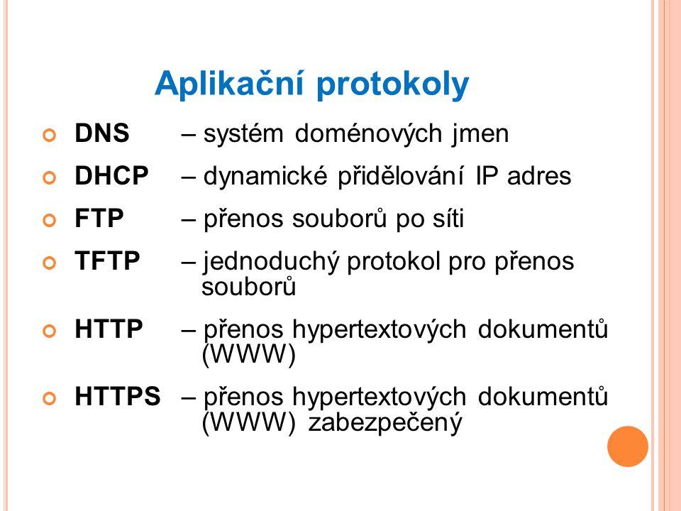 Aplikační protokoly DNS – systém doménových jmen DHCP – dynamické přidělování IP adres FTP – přenos souborů po síti TFTP – jednoduchý protokol pro přenos souborů HTTP – přenos hypertextových dokumentů (WWW) HTTPS – přenos hypertextových dokumentů (WWW) zabezpečený