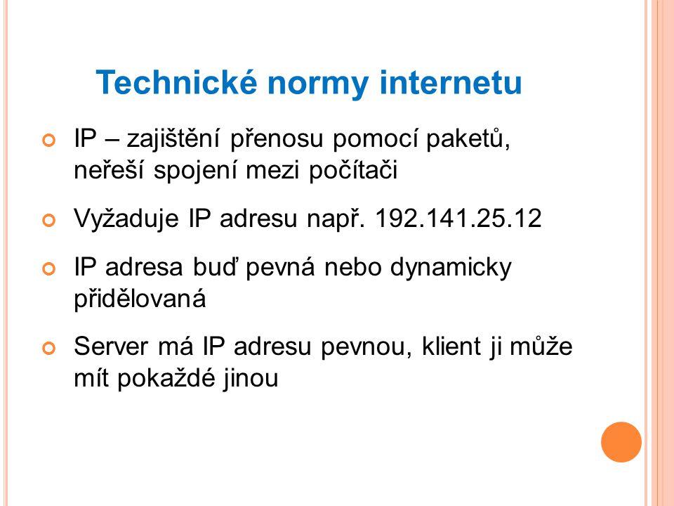 Technické normy internetu IP – zajištění přenosu pomocí paketů, neřeší spojení mezi počítači Vyžaduje IP adresu např.