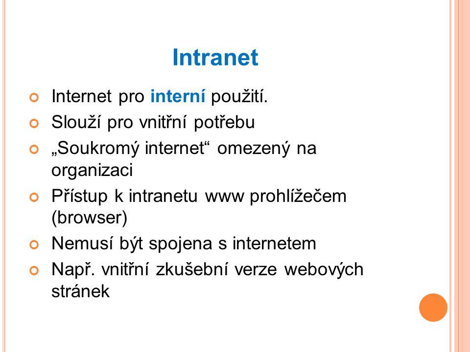 Intranet Internet pro interní použití.