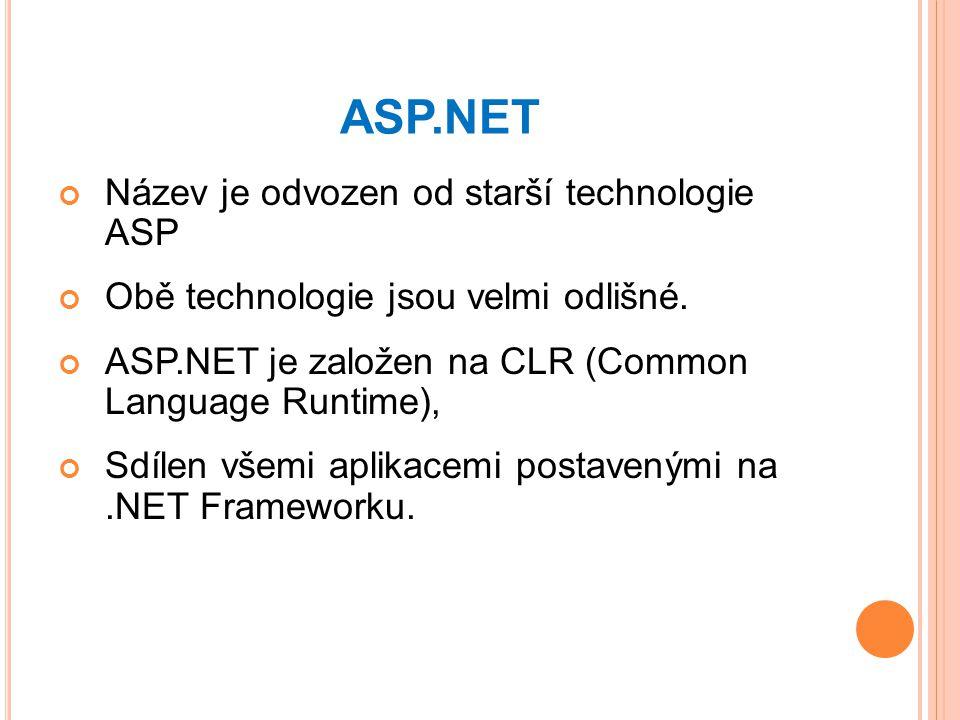 ASP.NET Název je odvozen od starší technologie ASP Obě technologie jsou velmi odlišné.